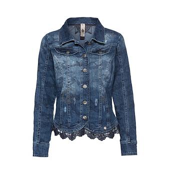 Jeansjacke mit Steinen, light blue