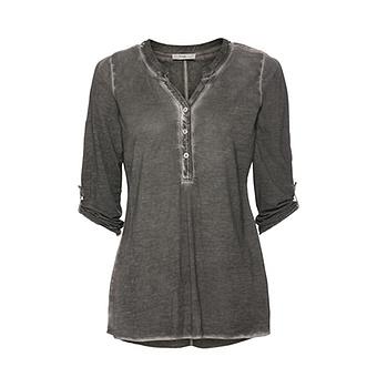 Basic Shirt mit Knopfleiste, olio