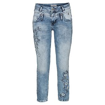 Jeans mit Floraldesign 64cm, light blue