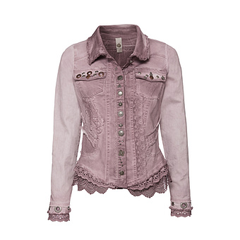 Jeansjacke mit Applikationen und Ösen, malve
