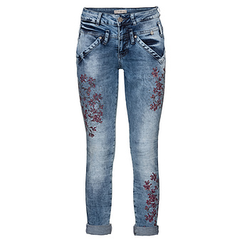 onlineshop tredy fashion jeans mit blumenprint 72cm denim. Black Bedroom Furniture Sets. Home Design Ideas