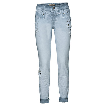 Jeans mit Spitzenapplikationen, moonlight