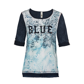 "Tunikashirt mit ""Blue""-Patch, denim"