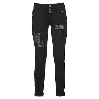 Jeans mit Stickerei, schwarz