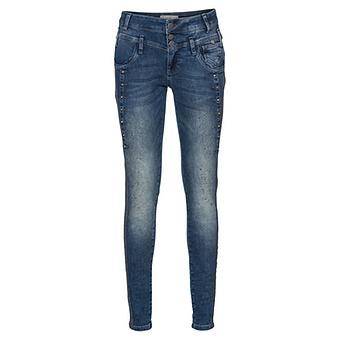 Jeans mit Pailletten und Zierband, denim