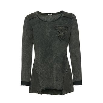 Basic Shirt mit stone-washed Optik, olio