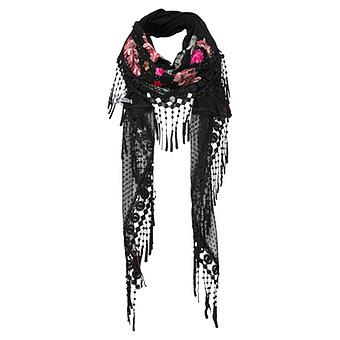 Schal mit Floral-Stickerei, schwarz