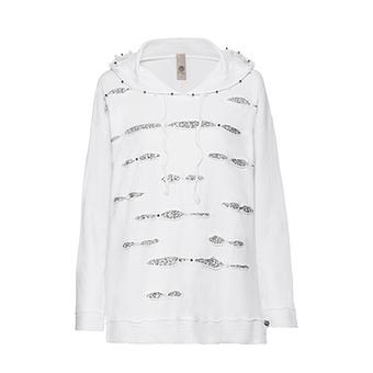 Sweatshirt mit Pailletten und Perlen, weiß stone washed