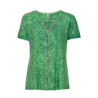 Basic Shirt mit Pailletten, avocado