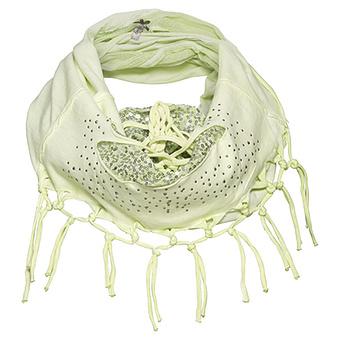 Loop-Schal mit Knoten-Design und Pailletten, limone