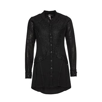 Jacke mit Spitzen-Applikation, schwarz