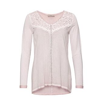 Basic Shirt mit Spitze und Schmucksteinchen, rosenholz