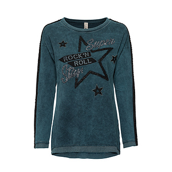 Pullover mit 'Rock'n Roll'-Patch, petrol stonewashed