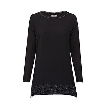 Basic Shirt mit floraler Häkelspitze, schwarz