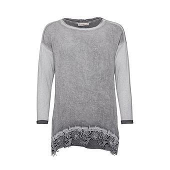 Basic Shirt mit floraler Häkelspitze, eiffelturm