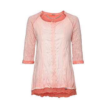 Basic Shirt in Crash-Optik , peach