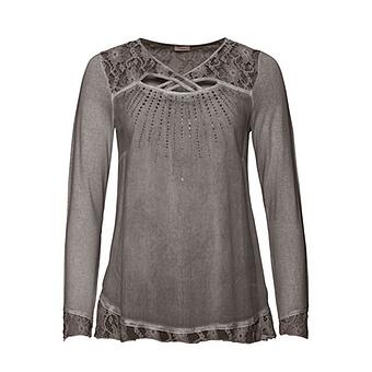 Shirt mit Spitze und Glitzersteinchen, mocca