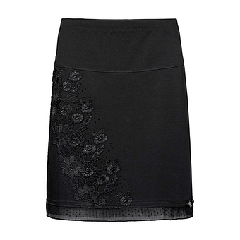 Rock mit floralem Design, schwarz