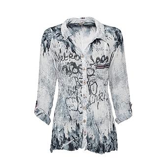 Crash-Bluse mit Glitzersteinen, jeansblau