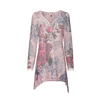 Strickshirt im Floralprint, rosenholz