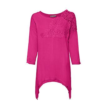 Basic Shirt mit Häkelspitze, pinkberry
