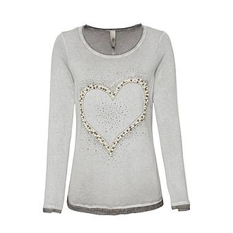 Shirt mit Perlen-Herz, titan