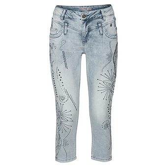 Sweat-Jeans mit Glitzersteinchen 55cm, bleached