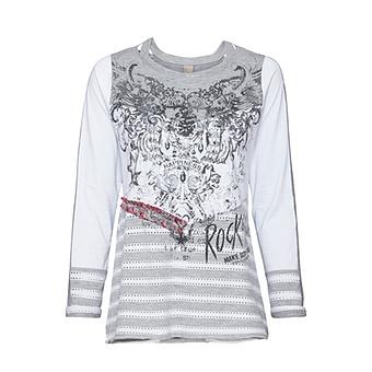 Shirt mit Metallic-Print, hellgrau