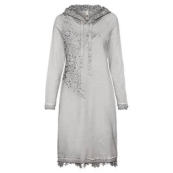 Kleid mit floraler Spitze und Glitzersteinchen, titan