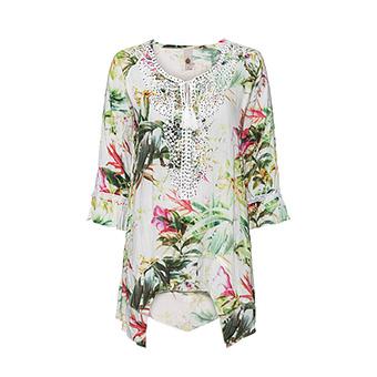 Bluse im floralen Design, offwhite