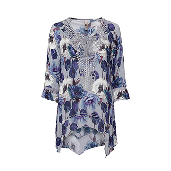 Viskose-Bluse im floralen Design, silber-grau crash