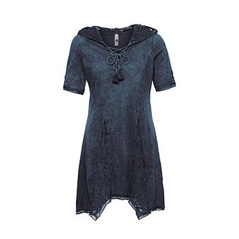 Basic Shirt mit Loch-Optik, night stonewash
