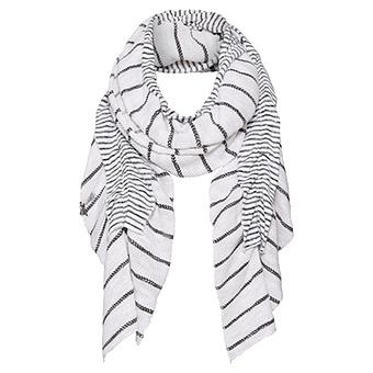 Schal mit Volants und Streifen, offwhite
