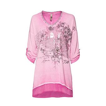 Shirt mit metallic-Print, rosé-pink