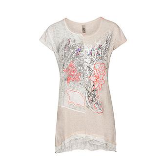 Shirt mit Frontprint, sand-melange