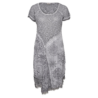 Gepatchtes Crash-Kleid mit Lurex, eiffelturm