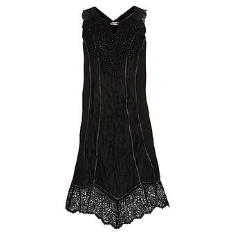 onlineshop tredy fashion kleid mit leinen und h kelspitze schwarz. Black Bedroom Furniture Sets. Home Design Ideas