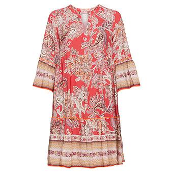 Kleid im Alloverprint, sorbet