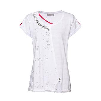 Basic Shirt mit Loch-Optik, weiss