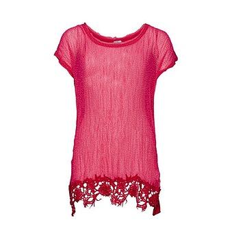 Gepunktete Crash-Bluse mit Viskose, hot pink