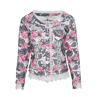 Jeansjacke im floralen Alloverprint, bunt