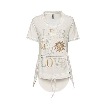 Shirt mit Loch-Optik und Viskose, offwhite