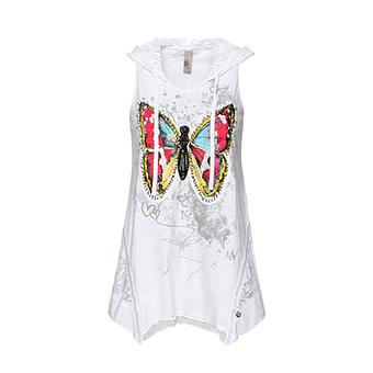 Top mit Schmetterlings-Design, weiss