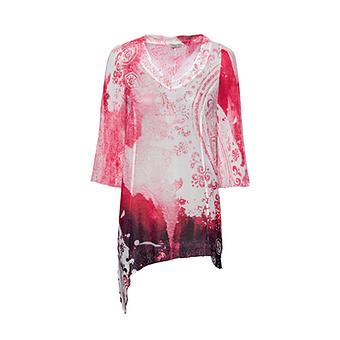 Chiffon-Bluse mit Plissee, hot pink