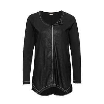 Shirt mit Perlen und Steinchen, schwarz