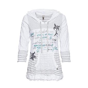 Streifen-Shirt mit Glitzerprint, weiss-grau