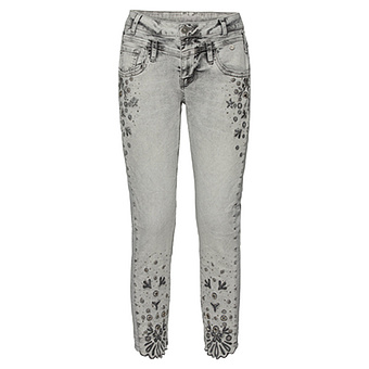 Sweat-Jeans mit Stickerei und Schmucksteinen 64cm, light grey