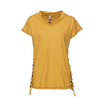 Basic Shirt mit Häkel-Optik, curry