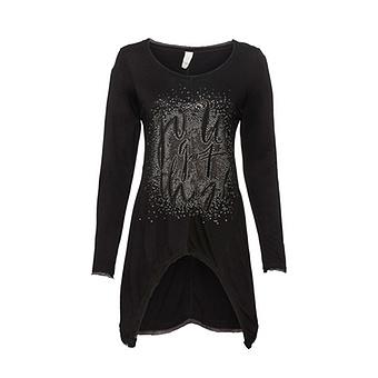 Viskose-Shirt im Vokuhila-Schnitt, schwarz