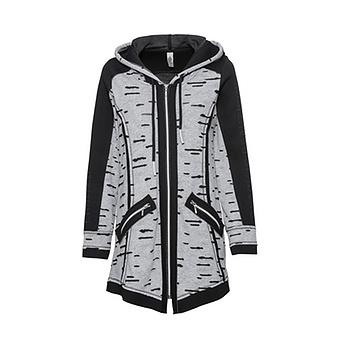 Jacke mit Loch-Optik, schwarz-grau